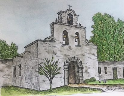 """OLD MISSION CHURCH - 5 x 7"""" art card by artist Nina  - GIN ONLY"""