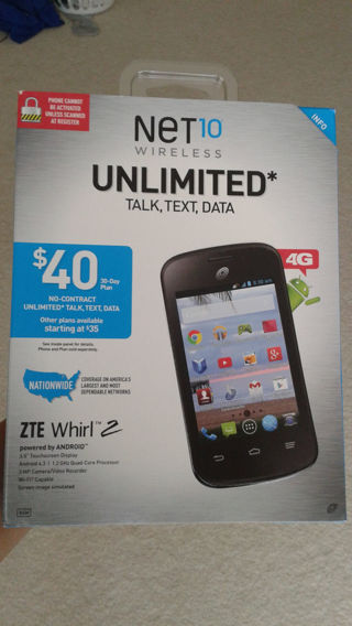Brand new net10 ZTE whirl 2 (factory sealed in package)gin bonus