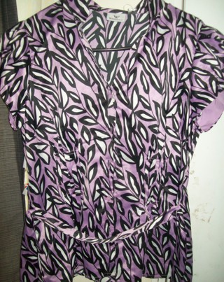 Worthington Ladies Sz M 10 Mixed Lavendar/Black/White Dress Button Belted Top-New With Tags!