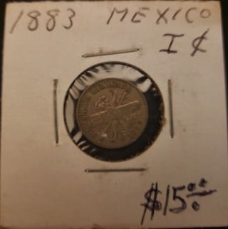Antique Vintage Rare Collectible 1883 Mexican 1 Cent Pesos Coin