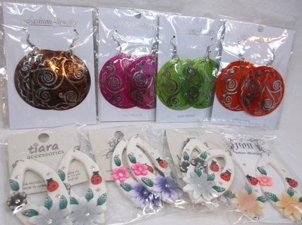 8 New in Package Earrings- Delicate shell / Fimo Drops