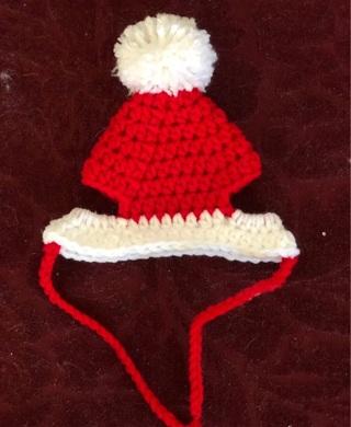Crochet kitten Santa hat