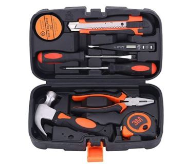 9 Piece Small Tool Kit General Household Hand Tool Set with Plastic Toolbox Storage Case