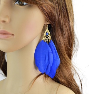 Feather Vintage Colorful Individual Drop Earrings New Brincos