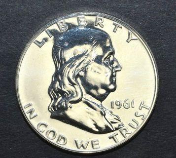 "1961 ""PROOF"" 90% Silver Franklin Half Dollar W/FULL BELL LINES"