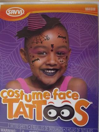 BNIP SAVVI Costume Face Tattoos Bat/Web Witchy Theme
