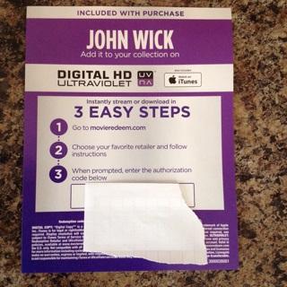 John Wick digital HD code