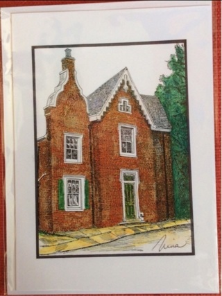 "QUAINT BRICK HOUSE - 5 x 7"" art card by artist Nina Struthers - GIN ONLY"
