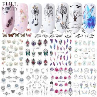 40pcs Nail Sticker Black Flower Water Transfer Decal Lace Dream Catcher Design Nail Art Slider Pol