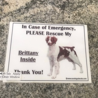 Brittany Spaniel Emergency Rescue Sticker, Free Mail