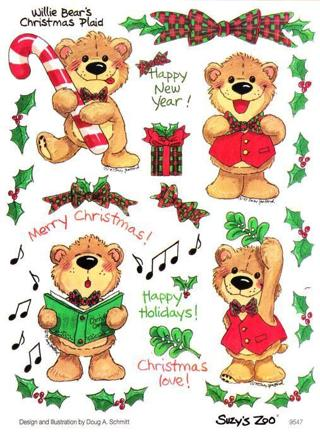 "Lot 6222 EXTREMELY RARE Suzy's Zoo 4.5""x6"" Sheet 9547 - Christmas teddy bears"