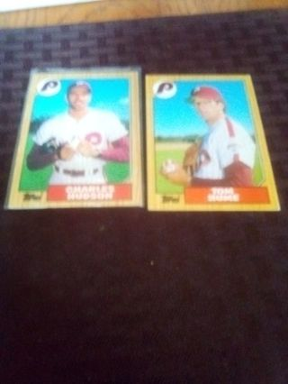 1987 Topps Phillies two-card lot