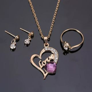 Fashion Gold Jewelry Engrave Love Heart necklace purple crystal Necklaces Jewelry Set