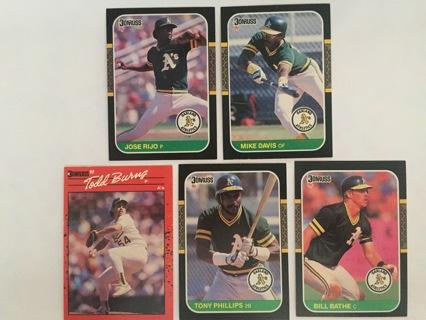 5 A'S JOSE RIJO, MIKE DAVIS, TODD BURNS, TONY PHILLIPS & BILL BATHE TRADING CARDS