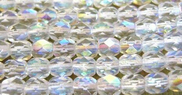 8 crstal AB clear glass beads