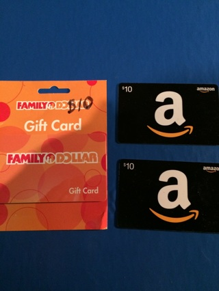 Free 3 10 Gift Cards 1 Family Dollar 2 Amazon Total 30