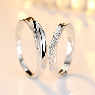 #13 Adjustable Crystal Stainless Steel Couple Promise Engagement Ring Wedding Band BestGift for Love