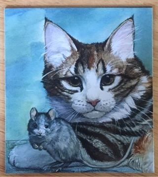 "CAT AND MOUSE - 3 x 3"" MAGNET"