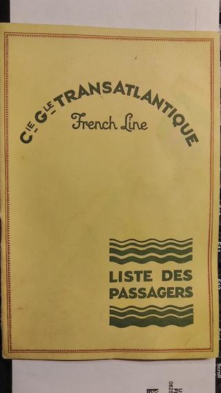 SS Ile de France French Line CGT ocean liner ship Passenger List August 30 1931