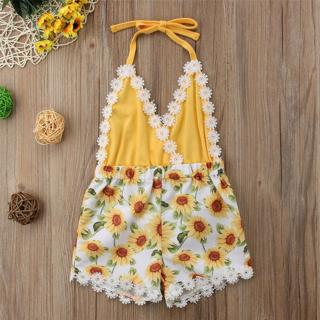 Canis Toddler Kids Baby Girls Lace Sunflower Romper Bodysuit Sunsuit Outfits Set