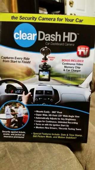As Seen On TV-- CLEAR DASH HD Car Dashboard Camera NEW IN PKG