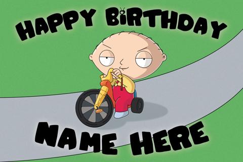 Free Custom Family Guy Birthday Card Stewies Big Wheel