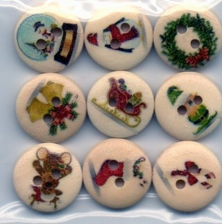 Last bag of Mixed Christmas Pattern Sewing Wooden Buttons