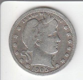 1905-S Silver Barber Quarter