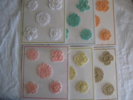 Crochet flowers,3 packs, 5 flowers each,GIN gets all 6 packs