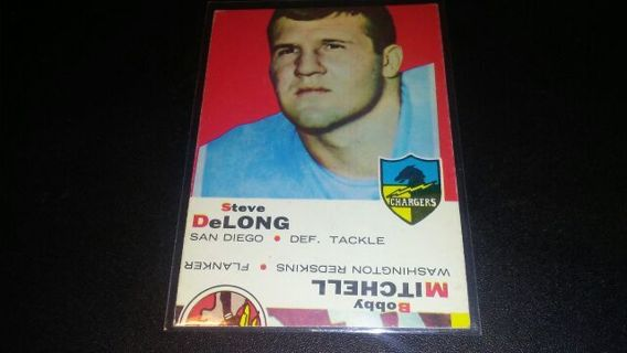 1969 TOPPS ERROR CARD- STEVE DELONG SAN DIEGO CHARGERS/ BOBBY MITCHELL REDSKINS FOOTBALL CARD