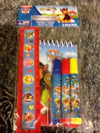 """BNIP Nickelodeon """"PAW PATROL"""": 5 Piece Stationery Set! Ruler/Markers/Note pad *Think EASTER*"""