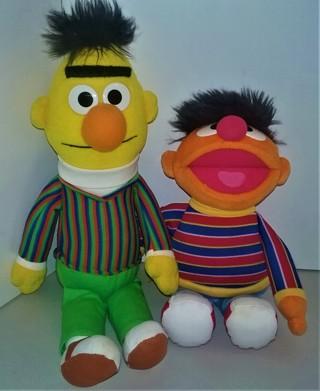 2002 Sesame Street BERT & ERNIE stuffed character dolls by GUND