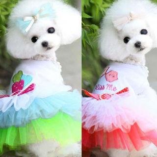 [GIN FOR FREE SHIPPING] Pet Puppy Small Dog Cat Lace Skirt Princess Tutu Dress