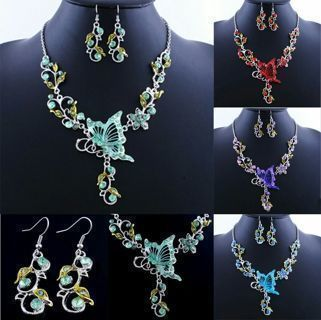 [GIN FOR FREE SHIPPING] New Butterfly Flower Crystal Rhinestone Necklace Earrings