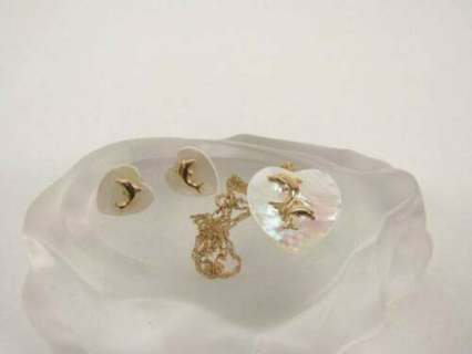 10k Gold Michael Anthony Mother Of Pearl Heart Dolphin Necklace Earrings Set