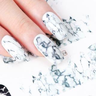 1PCS White Black Gradient Marble Nail Art Sticker Water Transfer Decal Watermark