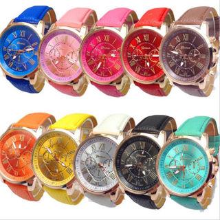 Women Leather Band Stainless Steel Quartz Analog Wrist Watch