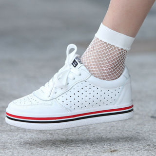 Women White Fishnet Ankle High Socks Lady Mesh Lace Fish Net Short Socks