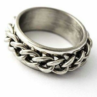 Unisex Stainless Steel Silver Band Chain Spinner Ring