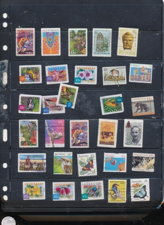 (34) Stamps from Australia,  All Different, Vintage, Used, Cancelled - AUS-138