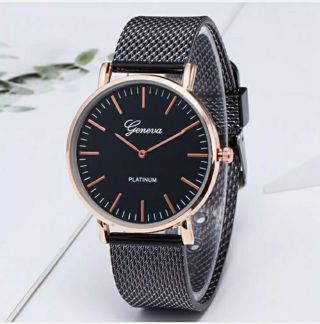 1pcs Fashion Women Men Geneva Crystal Stainless Steel Quartz Analog Wrist Watch