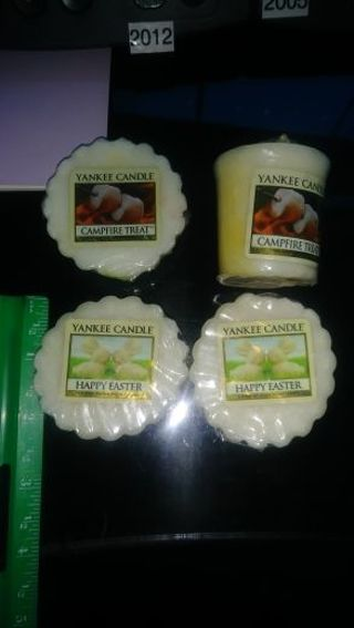 YANKEE CANDLE- LOT OF 4- CAMPFIRE TREAT AND HAPPY EASTER