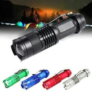 6000LM CREE Q5 LED Mini Flashlight 14500 AA 3 Modes Zoomable Torch Lamp Light