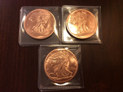 .999 FINE COPPER Coin Lot WALKING LIBERTY 1 Oz Rounds