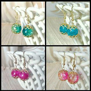 New Crackle Glass Bead Earring Set