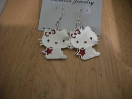Hello Kitty Red & Silver Earrings