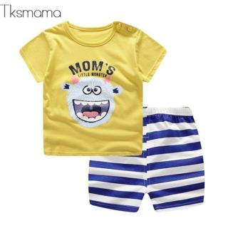 Fashion Lovely Baby Boy Girl Summer Infant Clothing Clothes Striped Shorts + Yellow Top Tees Cloth