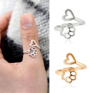 Fashion Paw Print Love Heart Ring Open Adjustable Rings Dog Cat Pet Animal Ring