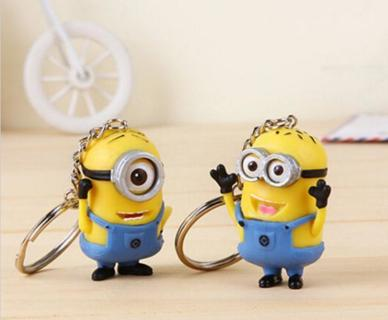 2pcs Despicable Me Minion Toy Keyring Key Chain 3D Eyes Stuart Jorge NEW #2