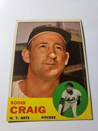 1963 Roger Craig New York mets vintage baseball card